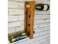 Handcrafted Wall Mounted Wooden Bottle Holder - Oak Beeswax Holds 4 Bottles