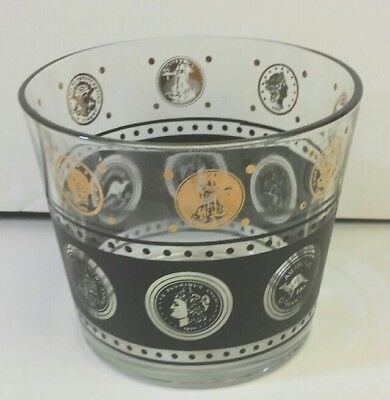 mid-century glass ice bucket rare coin pattern gold and black