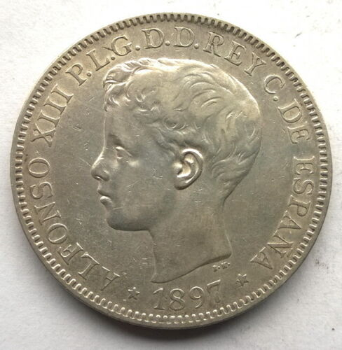 Spanish Philippines 1897 Alfonso XIII Silver Coin,Rare