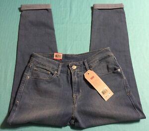 Levis Stretch Denim Women's Mid Cuffed Crop Capris Blue Skinny Jeans Size 28 New