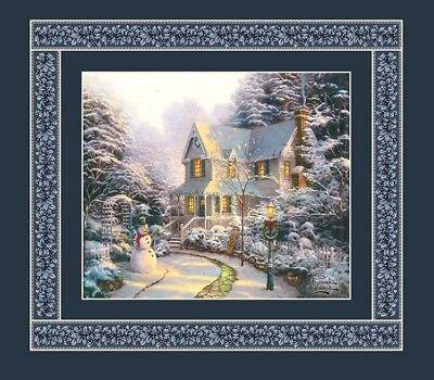 Quilt Fabric Panel - Thomas Kinkade Christmas Winter Holiday House Panel Quilt Fabric  18