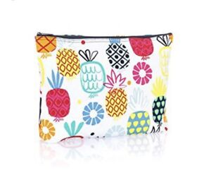 NWOT Thirty One large zipper pouch in pineapple print
