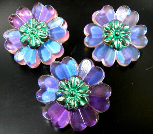 """3 Czech Crystal Glass Buttons #B604 - 22 mm or 7/8"""" - RARE  SHAPE of FLOWERS"""