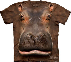 NEW-HIPPO-HEAD-Hippopotamus-Brown-Safari-The-Mountain-T-Shirt-Adult-Sizes