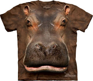 NEW-HIPPO-HEAD-Hippopotamus-Brown-Safari-The-Mountain-T-Shirt-Adult-Sizes