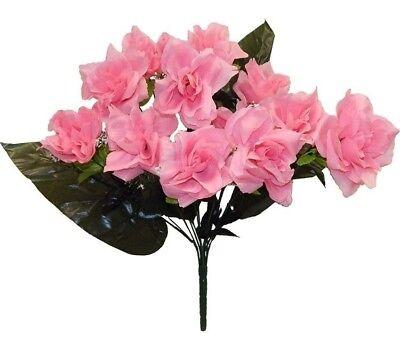 Pink Wedding Centerpieces (12 Open Roses PINK Long Stems Silk Wedding Bouquet Flowers Centerpieces)