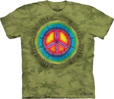 Peace Tie-Dye T-Shirt by The Mountain. Hippie Retro Green Sizes S-5XL NEW