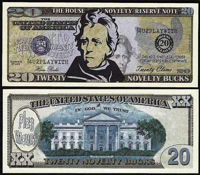 Lot of 100 Bills- Twenty Novelty Bucks, Play Money Dollar House Novelty Note - Play Money 100 Dollar Bills