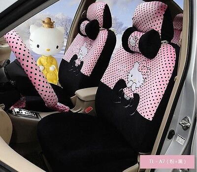 ** 18 Piece Black&Pink Hello Kitty Little Bow Car Seat Covers ** for sale  Shipping to Canada