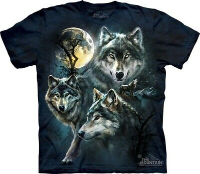 - Moon Wolves Collage T-Shirt by The Mountain. 3 Wolf Full Moon Sizes S-5XL New