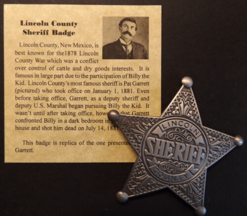 Lincoln County New Mexico Sheriff Badge, old west, Pat Garrett, Billy the Kid