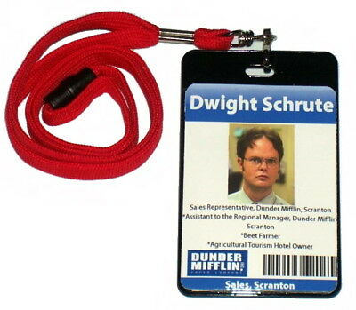 Dwight Schrute The Office Dunder Mifflin ID Badge Halloween Costume