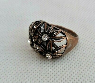 Nice antique jewelry Rose gold White stone ANTIQUE XIX STERLING Gold Brooch Authentic Antique brooch Silver from France