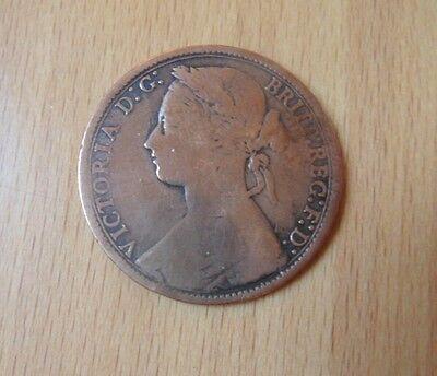 QUEEN VICTORIA ONE PENNY COIN-BUN HEAD-1877