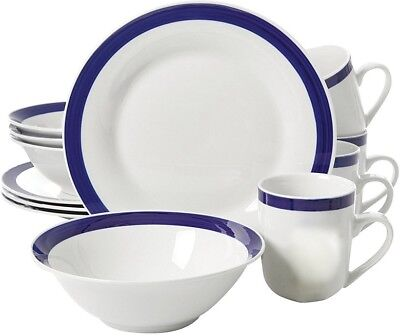 Gibson Nantucket Blue Banded Ceramic 12-piece dinnerware Set Service for 4 NEW  (Blue Banded Dinnerware Set)
