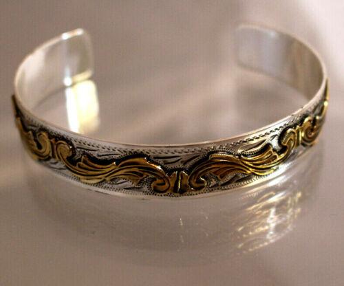 """Western Silver Gold Scroll Cuff Bracelet Fashion Casual Dress 1/2"""""""