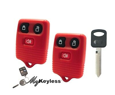 NEW RED FORD REPLACEMENT KEYLESS ENTRY CAR REMOTE FOB PAIR AND UNCUT KEY