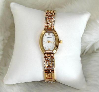 Greek   Austrian Crystal Gold Tone Ladies Bracelet Watch New