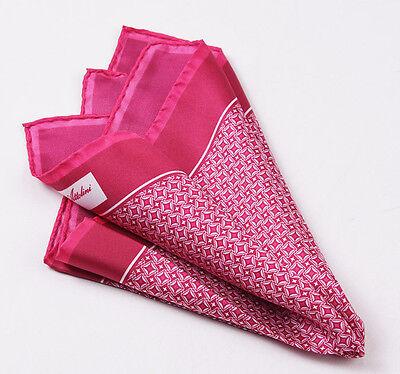 New CESARE ATTOLINI NAPOLI Raspberry Red Star-Diamond Print Silk Pocket Square