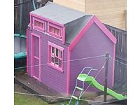 Purple and pink wooden play hut comes with decking, vinyl and new perspex