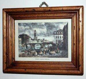 Rare Antique Hand colored steel plate engraving from Florence- P