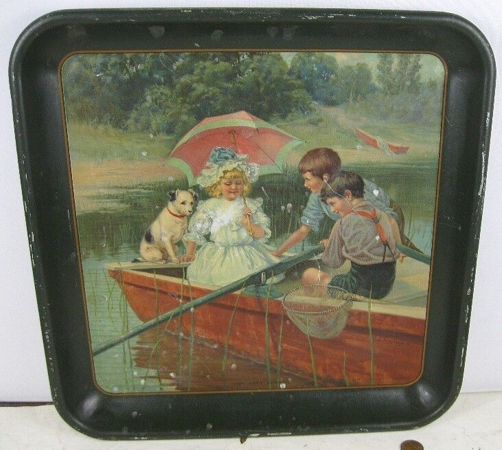 Antique 1908 Carl Hirschberg The City Cousin Advertising Tin Tray