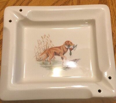 Ashtray Bowl Saf-T-Tray Hall Pottery Dog With Bird In Mouth cigar cigarette