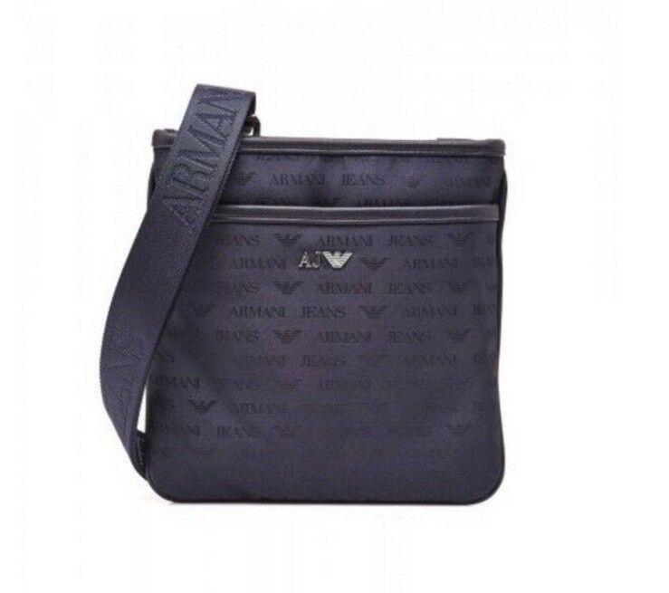 f15e135b10b0 NEW GENUINE Armani Jeans AJ Men s Black Messenger Bag Pouch Man bag