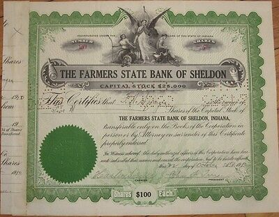 1910 Stock Certificate: 'Farmers State Bank of Sheldon,' Indiana IN