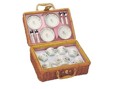 Deluxe Ceramic Tea Set With Basket, For Pretend Outdoor Picnic, Excellent Gift