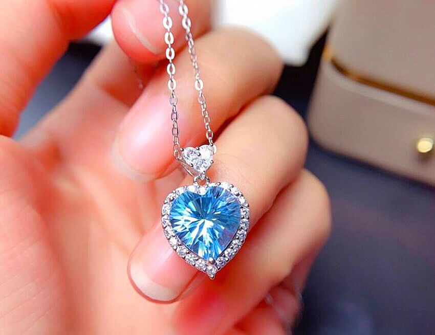 Jewellery - Sky Blue Heart Pendant 925 Sterling Silver Necklace Chain Womens Jewellery Gifts