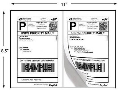200 Half Sheet Self Adhesive Shipping Labels 8.5 X 5.5 Uses Avery 5126 Template on Rummage