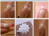 925 Silver flower ring. New. Unworn. Size p / 8