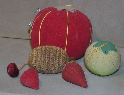 Vintage Lot 2 Red Emery  & 3 pincushions (1 is velvet) NICE OLD LOT sewing
