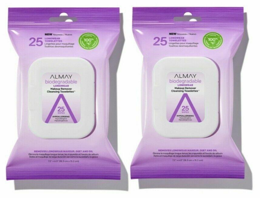 2 Pack Biodegradable Longwear Makeup Remover Cleansing Towel