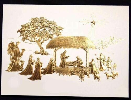 NIB Box 20 Christmas Cards Nativity Scene Gold Embossed Religious Jesus Holiday