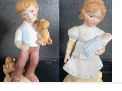 Avon 2pc Girl & Boy  A MOTHER'S LOVE  AND BEST FRIENDS Porcelain Figurine