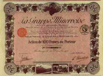 La Grappe Minervoise 1930 Montrouge Wein Tresterschnaps DEKO Gewinnanteilscheine