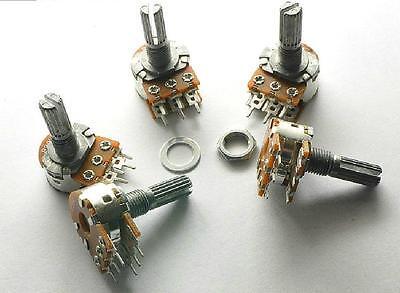 5pcs B100k Wh148 20mm Shaft Mixer Variable Resistors Dual Potentiometer