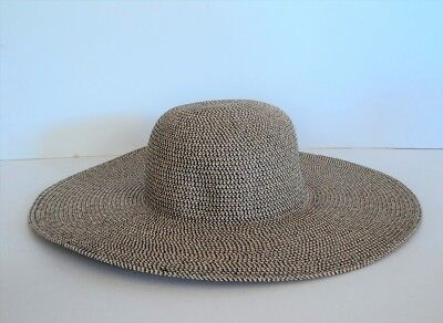 David & Young BLACK BROWN WHITE Large Brim BEACH Sun Hat Straw Weave  FLASH SALE