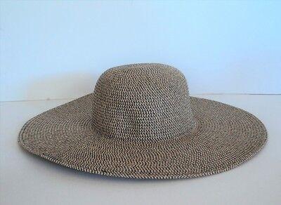 Straw Hats Cheap (David & Young BLACK BROWN WHITE Large Brim BEACH Sun Hat Straw Weave  FLASH)