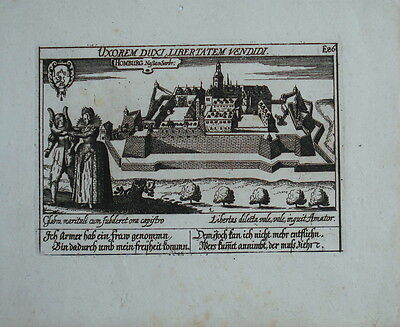 1638 Homburg Saarland Kupferstich Gesamtansicht Meisner Meissner Schatzkästlein