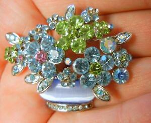 Vintage-Lucite-Moonglow-Crystal-Rhinestone-Flower-Basket-Silver-Tone-Pin-Brooch