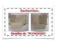 """(440-4)  RECHERCHE..  RETAILLES DE """"PLYWOOD"""" >>"""