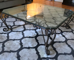 Square, glass coffee table with wrought iron base $100