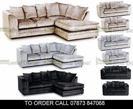 Arabian Premium Crushed Velvet Corner Suite or 3 and 2 Sofa Set adxc