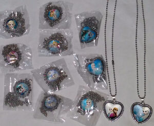 12 Disney Frozen Pendants with Necklaces NEW in package