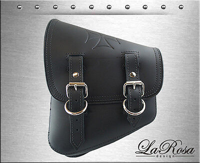 - La Rosa Black Leather Embross Iron Cross Harley Softail Rigid Left Saddle Bag