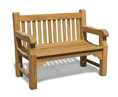 Gladstone Chunky Teak 2 Seater Garden Bench 1.2m - Solid Wooden Sustainable Teak