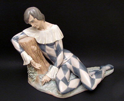 Hand Painted Porcelain Spain Lladro Harlequin Jester Figurine Salvador Furio